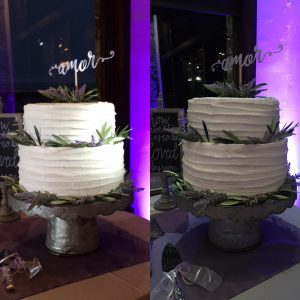 spotlighted cake versus not spotlighted cake