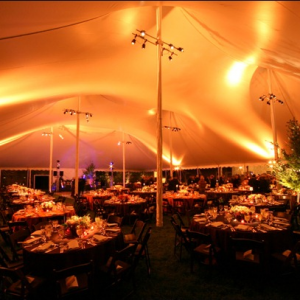 tent filled with colored lighting on ceiling